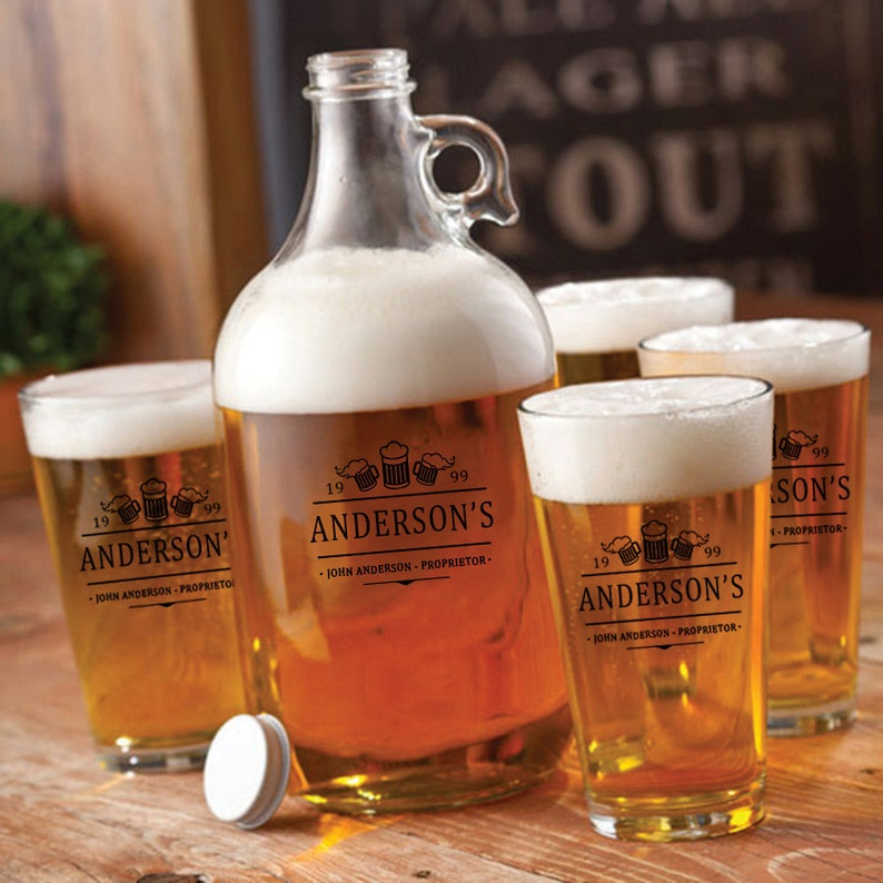 Personalized Craft Beer Growler with Pint Glass Set  image 0