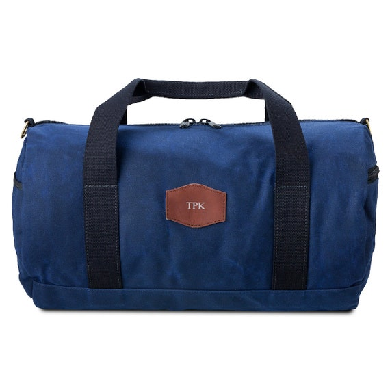 76b3fbde1891 Personalized Blue Canvas Duffle Bag Groomsmen Gifts