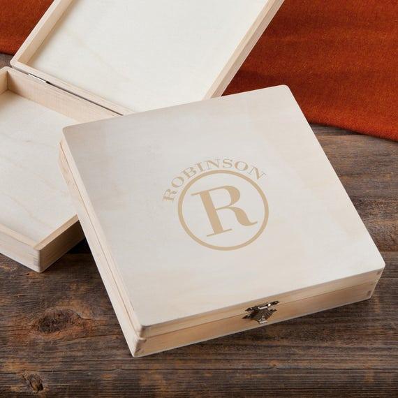 personalized wooden keepsake box monogrammed wooden cigar etsy