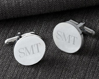 Personalized Round Cufflinks - Engraved Cufflinks - Monogrammed Groomsmen Gift Cufflinks - Personalized Cufflinks - Groomsmen Gifts - GC1301