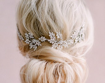 Tuileries Garden- statement bridal headpiece- statement bridal vine- bridal hair vine- crystal hair vine- swarovski hair vine- crystal hair