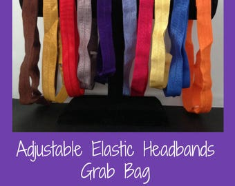 Grab bag of adjustable elastic headbands - sets 3, 6 or 12  - fits up to 21 inch head -- child or adult