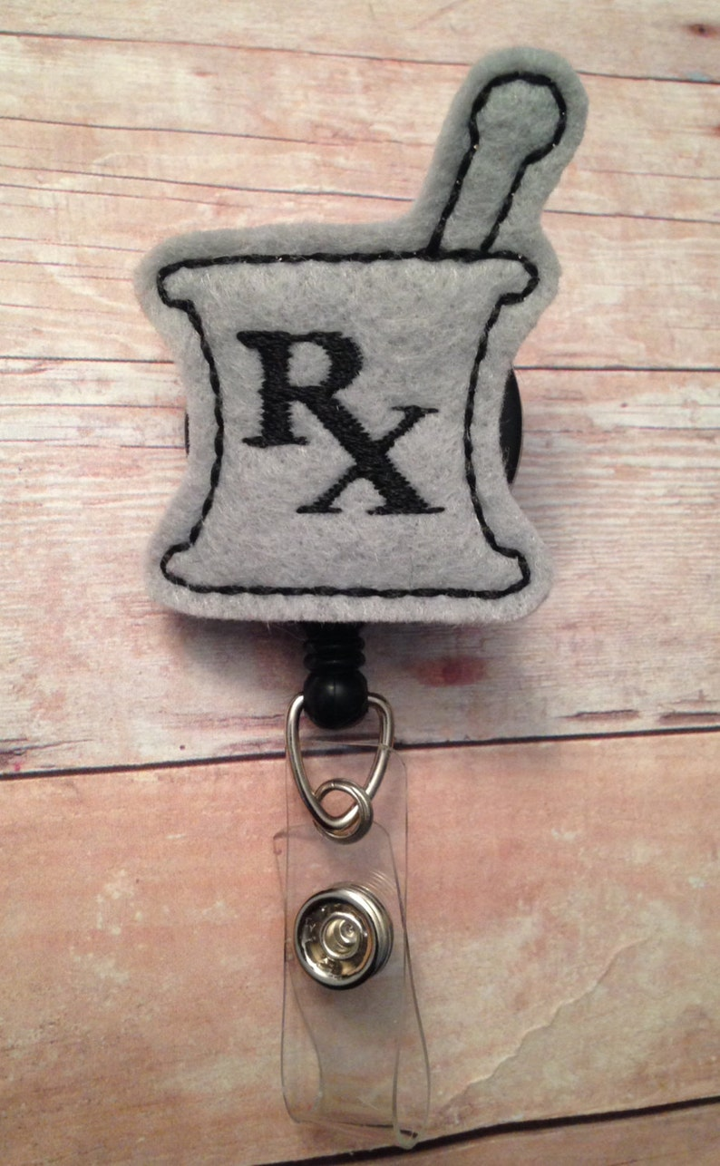 Pharmacist badge reel/badge holdergray mortar and pestle  image 0