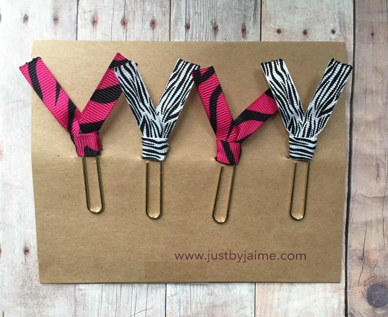 4 zebra themed ribbon paper clips  2 pink/black & 2 image 0