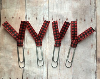 4 buffalo plaid ribbon paper clips - silver toned clip - red and black plaid -- great teacher gift or planner user gift