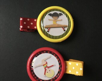 balance beam and floor exercise gymnastics themed hair clips -- (partially lined alligator clips w/ no slip grip) -- approx. 2 in across