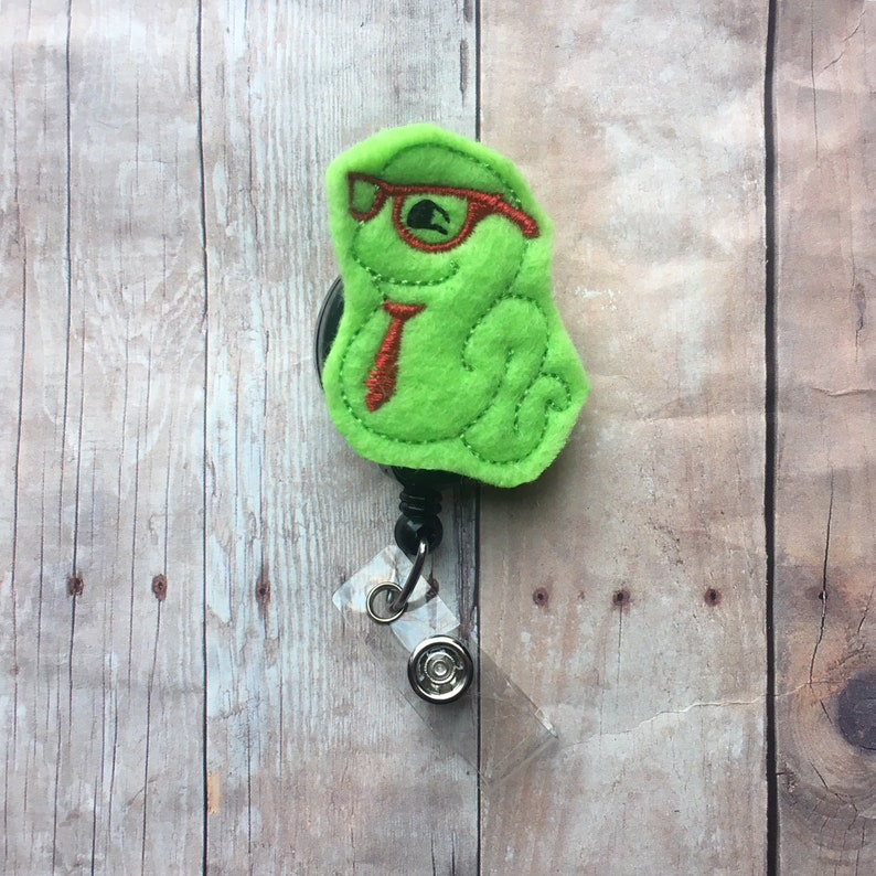 Bookworm with tie badge reel/badge holder  perfect gift for image 0