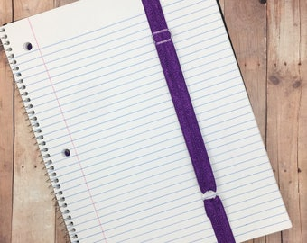 Adjustable elastic notebook bands -- adjustable bookmarks -- great gift or stocking stuffer for students and teachers