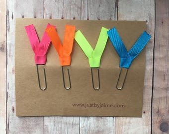 4 neon ribbon paper clips - pink, orange, green, blue - gold or silver toned clip - end of the year or teacher appreciation gift