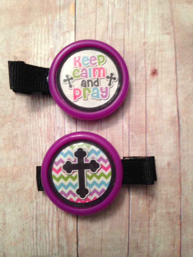 2 Keep calm and pray hair clips with purple borders partially image 0