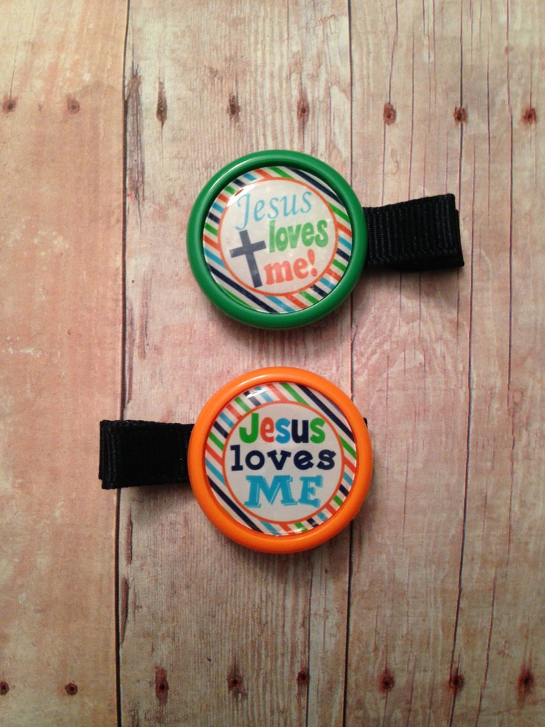 2 Jesus loves me hair clips partially lined alligator clips image 0