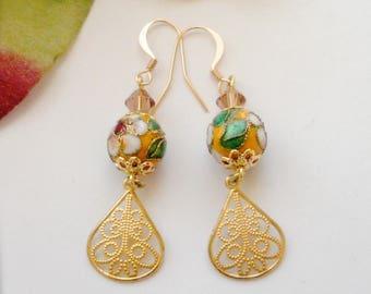 Gold Filigree Dangle Earrings, Millefiori Bead Filigree Earrings, Drop Earrings, Swarovski Crystal, Vintage Style Earrings, Gift for Her
