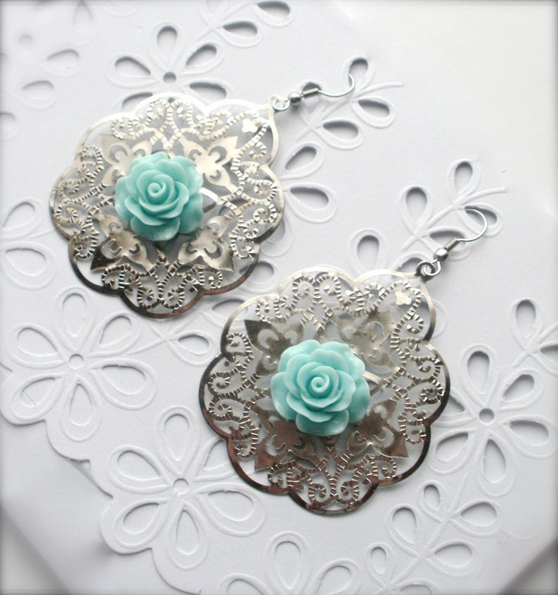 Gift for Her Large Dangle Big Lace Filigree Earrings Modern Earrings Teal Rose Flower Earrings Filigree Earrings Large Boho Earrings
