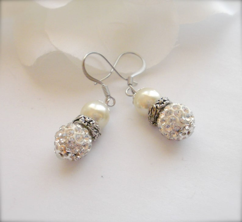 87eb3a2542493 Silver Crystal & Pearl Ball Earrings, Austrian Crystal and Swarovski Pearl  Ball Earrings, Pave Crystal Ball Dangle Earrings, Gift for Her