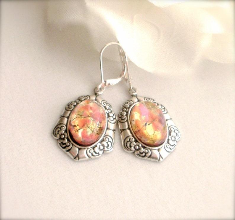 Boho style 925 Silver Fire Opal Dangle Drop Hook Earrings Wedding Jewelry Gift