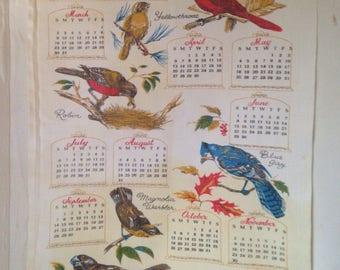 Vintage 1969 Cardinal Tea Towel Calendar