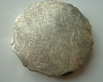 Stratton engraved silver plated powder compact