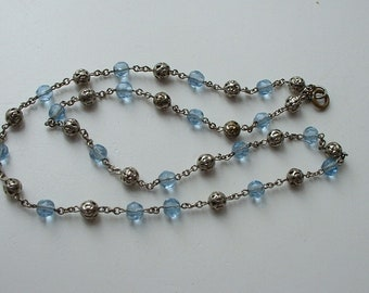 Pretty chain link necklace with blue glass and metal beads