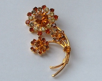 Multi rhinestone flower brooch