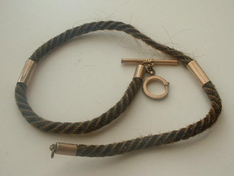 Victorian plaited hair memento mori fob chain