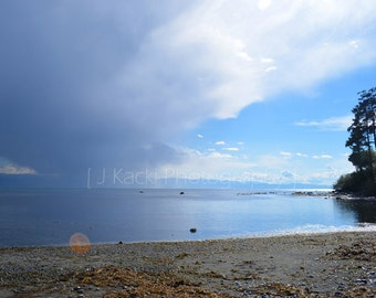 APPROACHING STORM, Whiffin Spit, West Coast, Vancouver Island, Ocean, Blue Sea and Sky