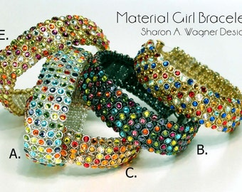 KIT Material Girl Bracelet & **NEW** Spiked Material Girl - bead woven with Crystaletts® Crystal Buttons