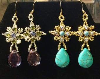 Kit Pilar's Drop Earrings -  Features Crystaletts Micro Linx Choice of Purple or Turquoise LIMITED QUANTITIES