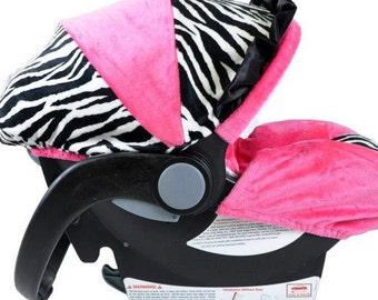 SALE Infant Car Seat Cover Zebra Hot Pink