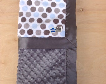 Baby Blanket- Blue/ Silver Dot/ Grey