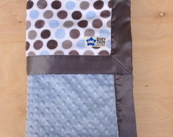 Baby Blanket- Blue/ Silver Dot/ Baby Blue