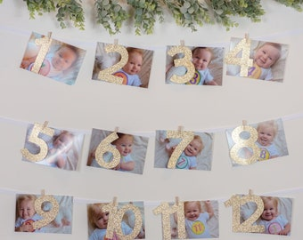 Milestone Month Banner – First Birthday Gold Theme Party – First Birthday Party – First Birthday Décor – First Party Decor