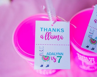 Llama Cactus Party Thank You Tags - Llama Theme Party – Thanks a Llama – Llama Party Decor - Digital or Print