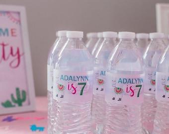 Llama Cactus Party Water Bottle Labels - Llama Theme Party – A Whole Lama Fun – Llama Party Decor - Digital or Print