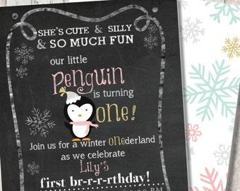 "Winter Penguin First Birthday Invitation - Winter Wonderland ""One""derland - Snowflake Print Back - Mint - Pink - Gold"