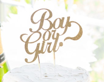 Gender Reveal Cake topper, Girl or Boy, Gold Glitter, For Mom to Be