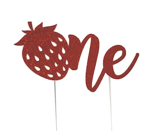 Strawberry Cake Topper, Strawberry birthday cake toppers, fruit, First one 1st Birthday cake, Smash Cake, birthday decorations, Shortcake
