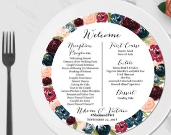 Circle Wedding Menu – Plated Dinner Menu – Wedding Menu – Wedding Reception Décor – Wedding Program