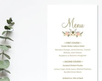Wedding Menu - peach and blue flowers