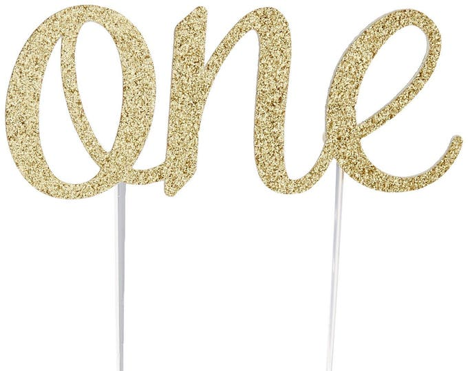 Featured listing image: Cake Topper, birthday cake toppers, First Birthday cake topper, Smash Cake, Gold cake topper, one cake topper, birthday cake decorations