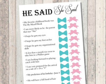 Baby Shower Games - He Said She Said