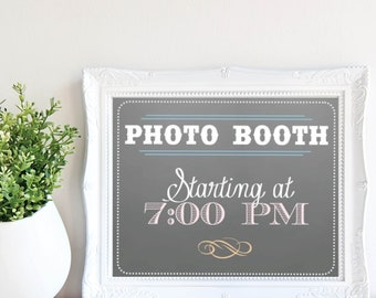 Photo Booth Sign - Starting Time - Grey Chalkboard