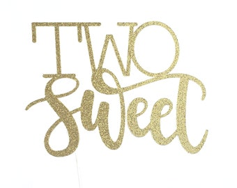 Two Sweet Cake Topper – Ice Cream Party Theme Party – Dessert Birthday Party – Two Sweet Birthday Décor – Two Sweet Party Decor