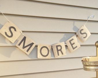 Smores Camping Graham Cracker Style Banner – Backyard Theme Party - Smores Theme Party Decor – Camping Birthday Décor
