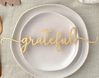 Thanksgiving Place Setting, Thanksgiving Place Settings, Table Decor, Place Cards, Fall Decor, Holiday Table, Word Place Setting