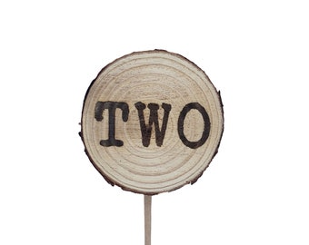 Wood Disc Cake Topper, birthday cake toppers, Second Birthday cake topper, two cake topper, birthday cake decorations