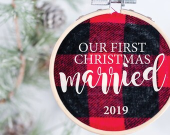 Our First Christmas Married Ornament - Buffalo Plaid Ornament – Merry and Married Ornament - Newlywed Christmas Ornament – Christmas Gift