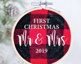 Our First Christmas as Mr. & Mrs. Ornament - Buffalo Plaid Ornament – Merry and Married Ornament - Newlywed Ornament – Christmas Gift