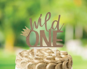 Wild One Cake Topper, First Birthday cake topper, Crown Cake topper, Jungle Animal Theme Party Decor, Woodlands Theme Party Decor
