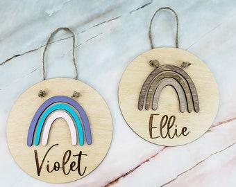 Custom Name Sign, Kids Room Decor, Rainbow Name Sign, Nursery Door Hanger