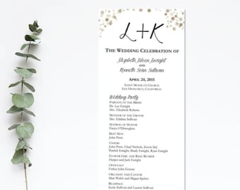 Wedding Program Gold Dot- I Design, You Print